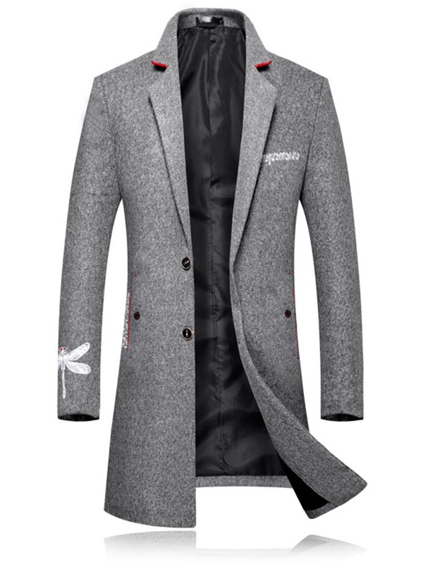 Embroidery Notched Lapel Slim Men's Coat