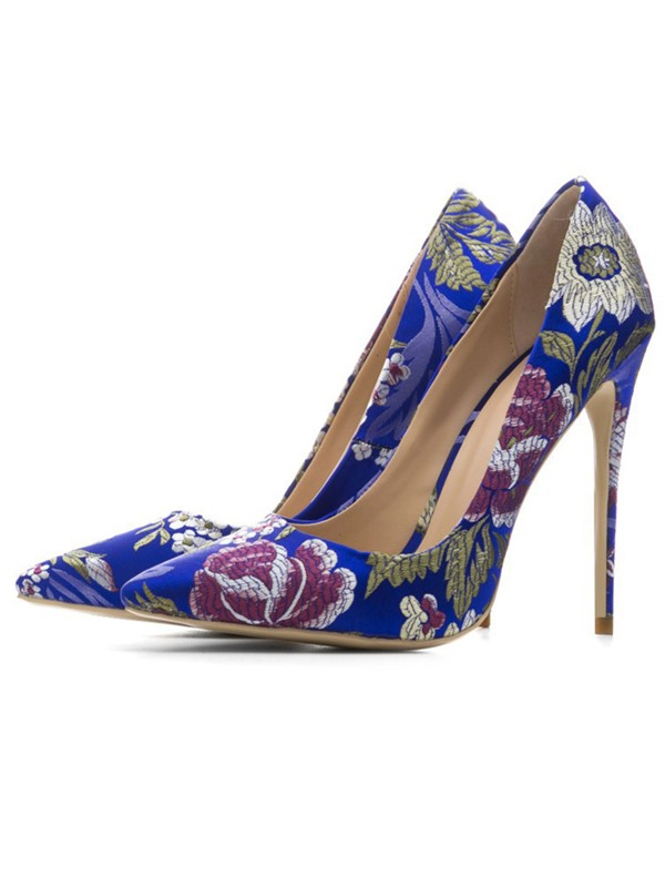 Silk Fabric Stiletto Heel Slip-On Pointed Toe Pumps