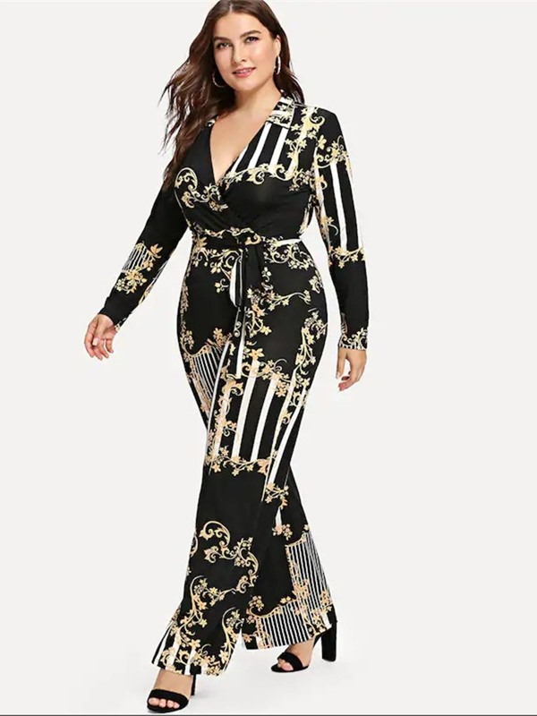 Full Length Print High Waist Slim Women's Jumpsuit