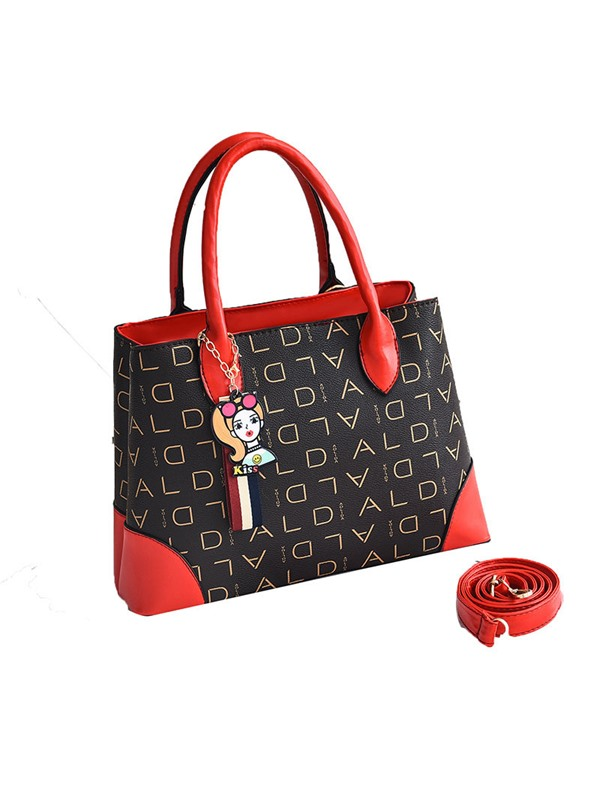 PU Print Letter Square Tote Bags