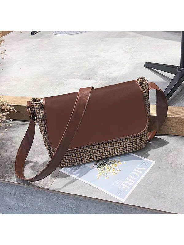 Patchwork Houndstooth PU Rectangle Crossbody Bags
