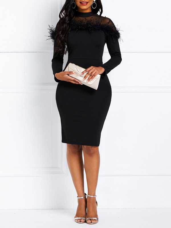 Long Sleeve Patchwork Fall Spring Women's Bodycon Dress