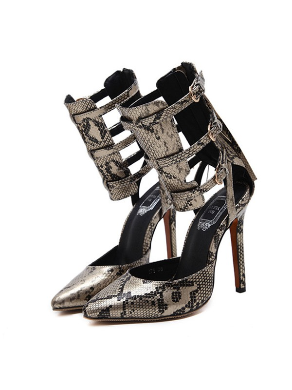 Serpentine Pointed Toe  Heel Covering Women's Sandals