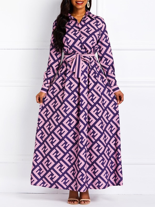 Long Sleeve Belt Lapel A-Line Women's Maxi Dress
