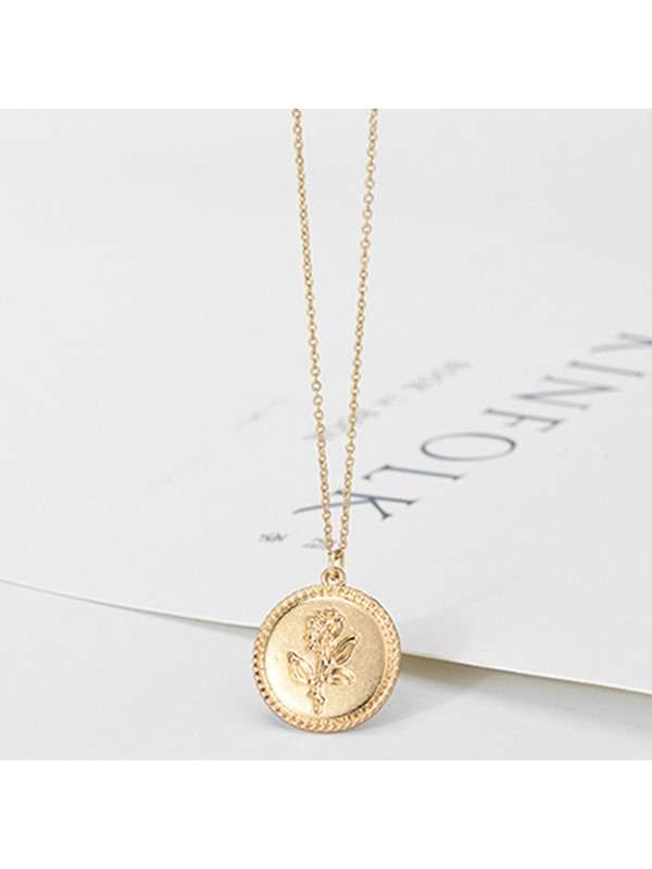 Concise Coin Pedant E-plating Alloy Necklace