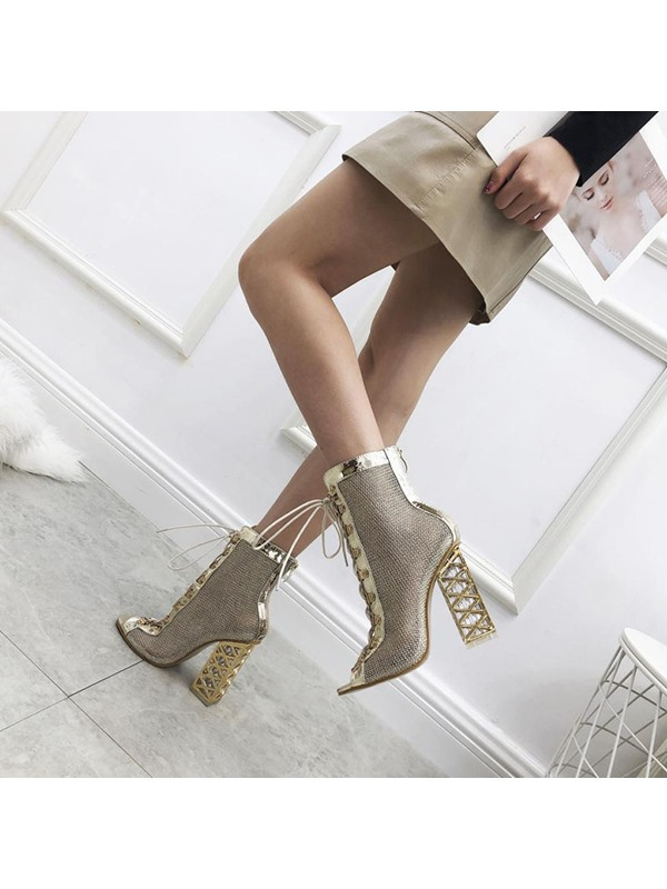 Chunky Heel Patchwork Peep Toe Women's Ankle Boots