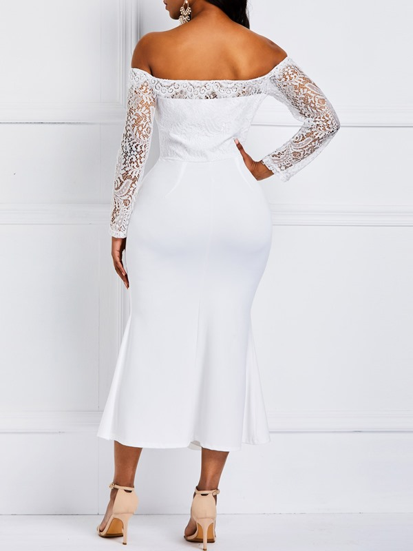 Lace Long Sleeve Mid-Calf Plain Off-The-Shoulder Women's Dresses