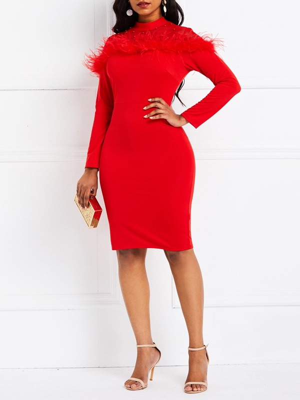 Feather Long Sleeve Pullover Women's Bodycon Dress