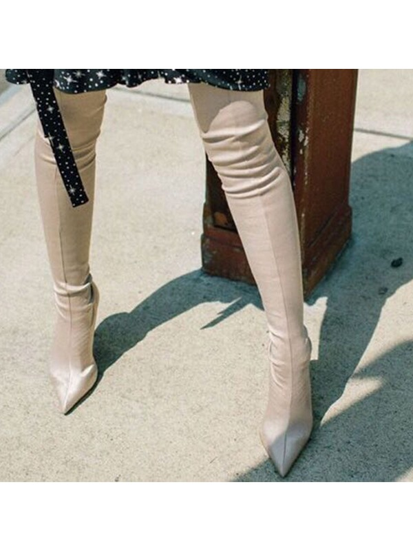 Plain Pointed Toe Slip-On Women's Thigh High Boots