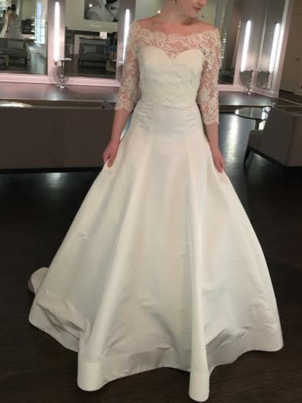 3/4 Length Sleeves A-Line Lace Wedding Dress