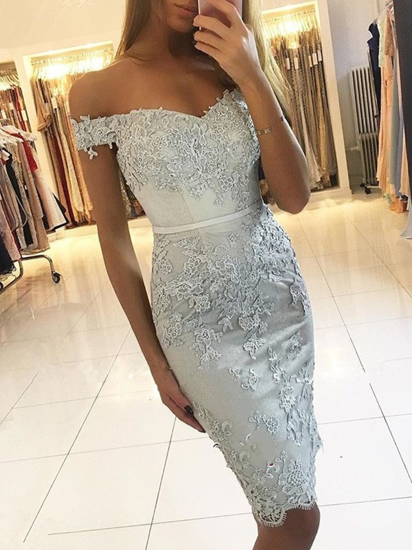Cap Sleeves Sheath Off-The-Shoulder Lace Cocktail Dress