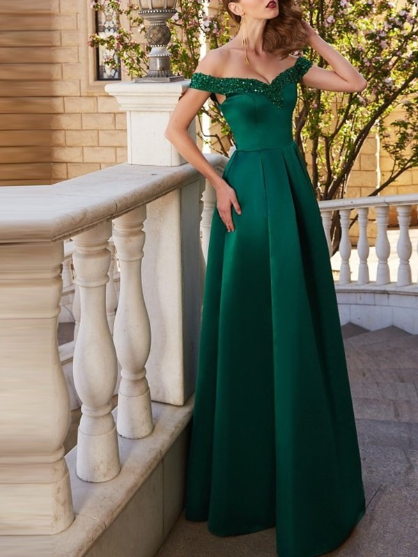 A-Line Beading Sleeveless Off-The-Shoulder Quinceanera Dress
