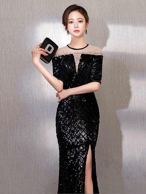 Jewel Floor-Length Sheath Short Sleeves Evening Dress