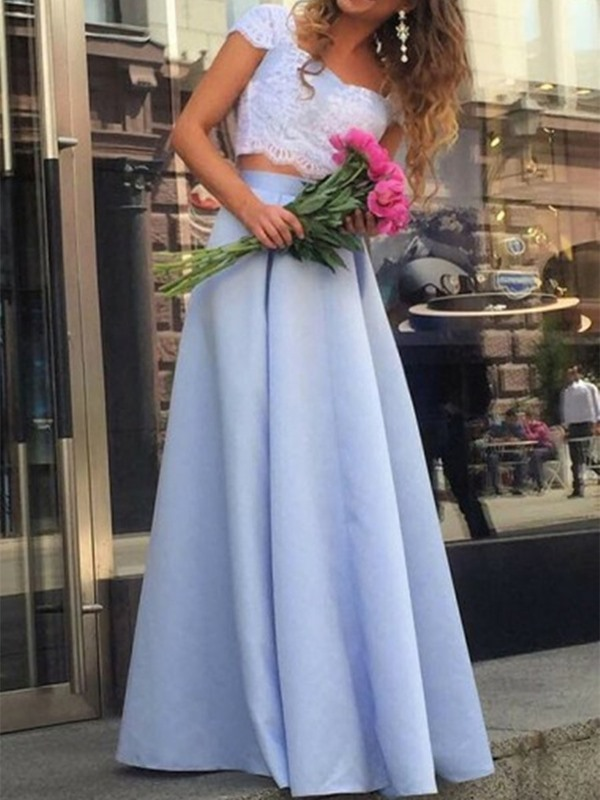 Sleeveless Floor-Length Square Sweep Train Prom Dress