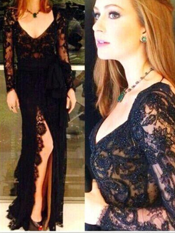 Lace Trumpet Long Sleeves Floor-Length Evening Dress