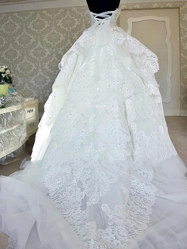 Ball Gown Lace Appliques Sequins Wedding Dress