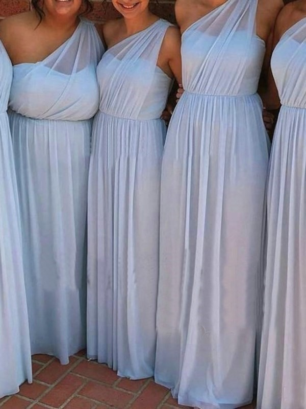 A-Line One Shoulder Ruched Bridesmaid Dress