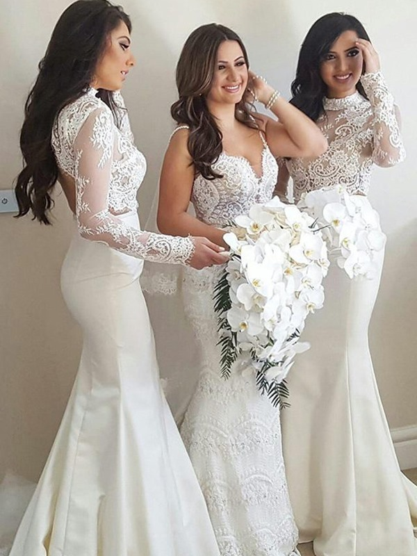 High Neck Mermaid Lace Bridesmaid Dress with Long Sleeve