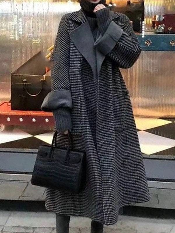 Loose Regular Lace-Up Notched Lapel Fall Women's Overcoat