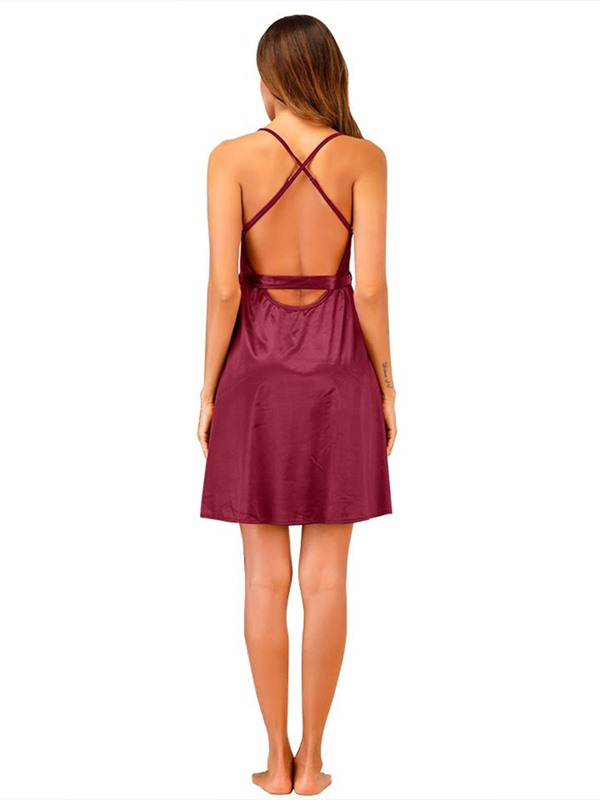 Backless Lace-Up Plain Sexy Nightgown