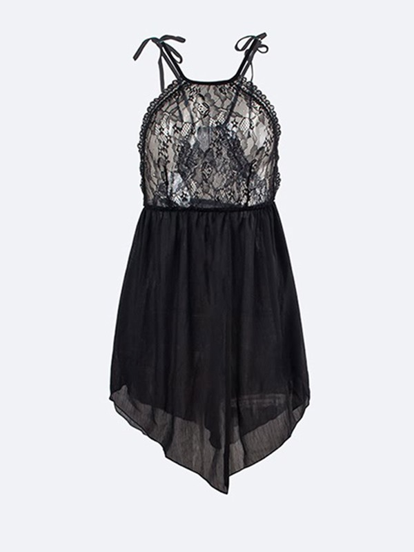 Backless Asymmetric See-Through Sexy Nightgown