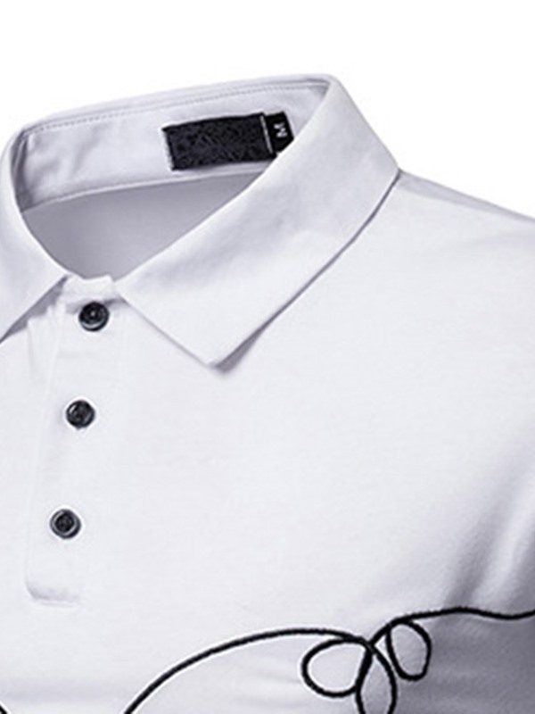Simple Embroidery Casual Men's Long Sleeve Polo