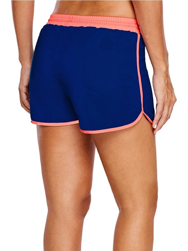 Simple Lace-Up Color Block Board Shorts