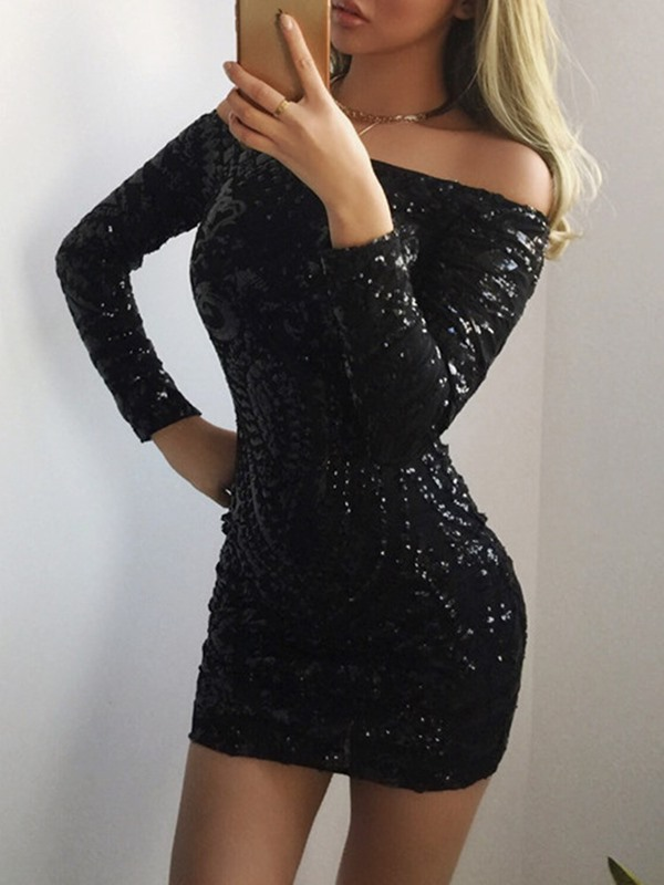 Long Sleeve Sequins Pullover Off-The-Shoulder Women's Bodycon Dress