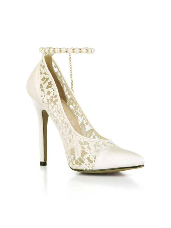 Beads Line-Style Buckle Stiletto Heel Pointed Toe Wedding Shoes