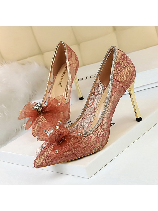 Lace Pointed Toe Bow Slip-On Wedding Shoes