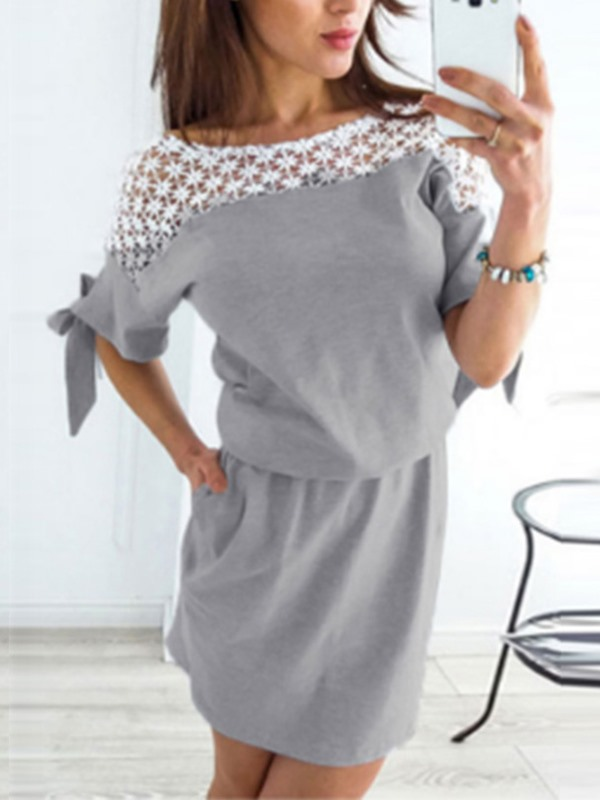 Round Neck Bowknot Half Sleeve Pullover Women's Bodycon Dress
