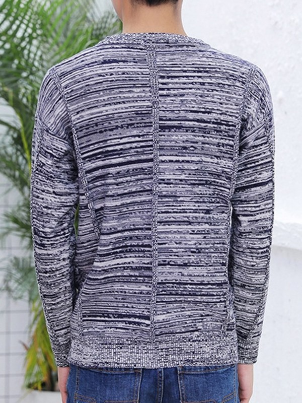 Round Neck Plain Pocket Casual Men's Sweater