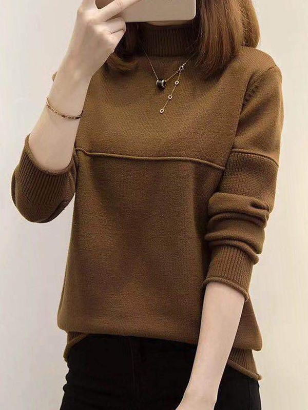 Plain Pullover Long Sleeve Women's Mock Neck Sweater