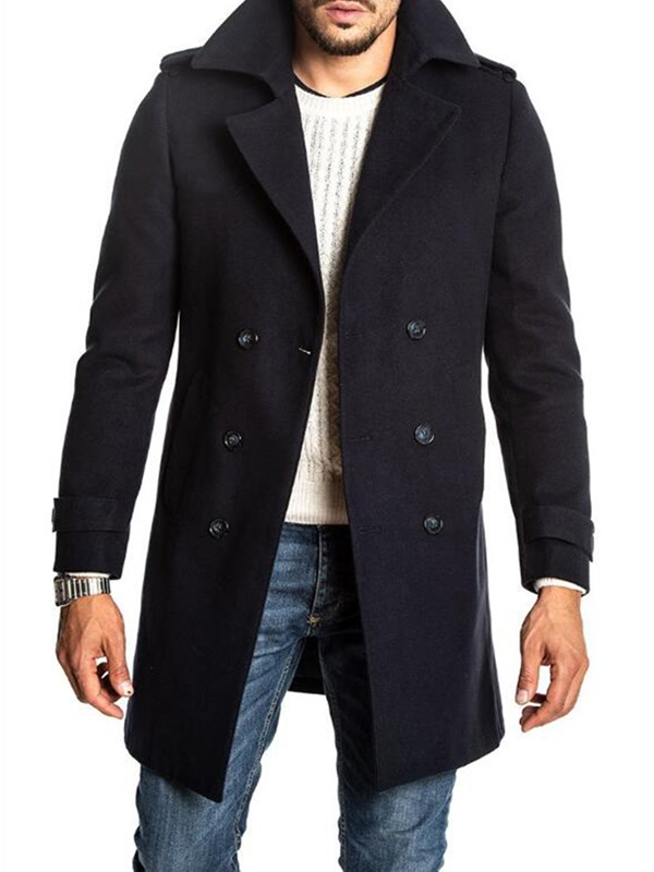 Black Plain Mid-Length Slim Men's Coat
