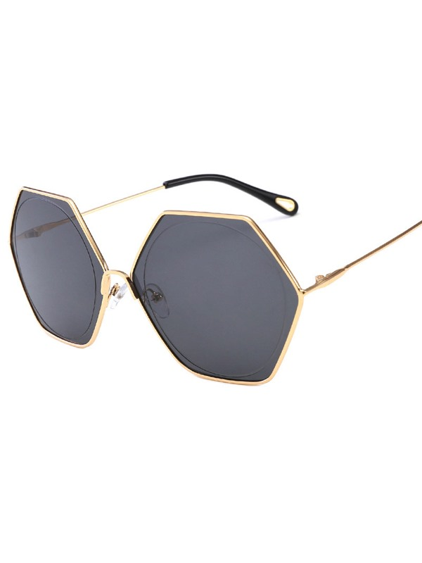 Polygon Shape Metal Frame Poly Carbonate Sunglasses