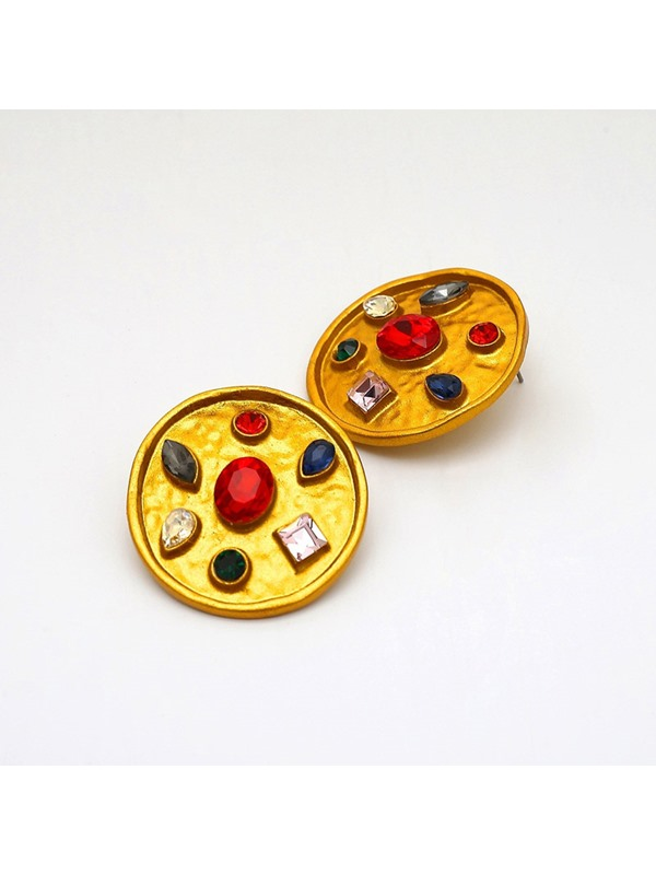 Assorted Colors Gemstone Round Alloy Earrings