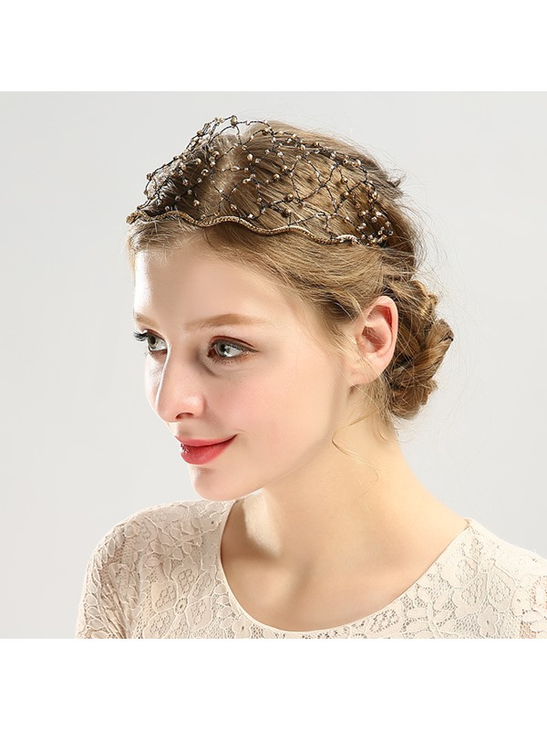 Sparkling Diamante Decorated Mesh Party Hair Accessories