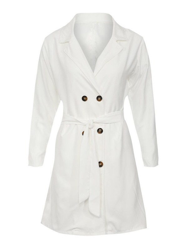 Lapel Double-Breasted Long Slim Women's Trench Coat