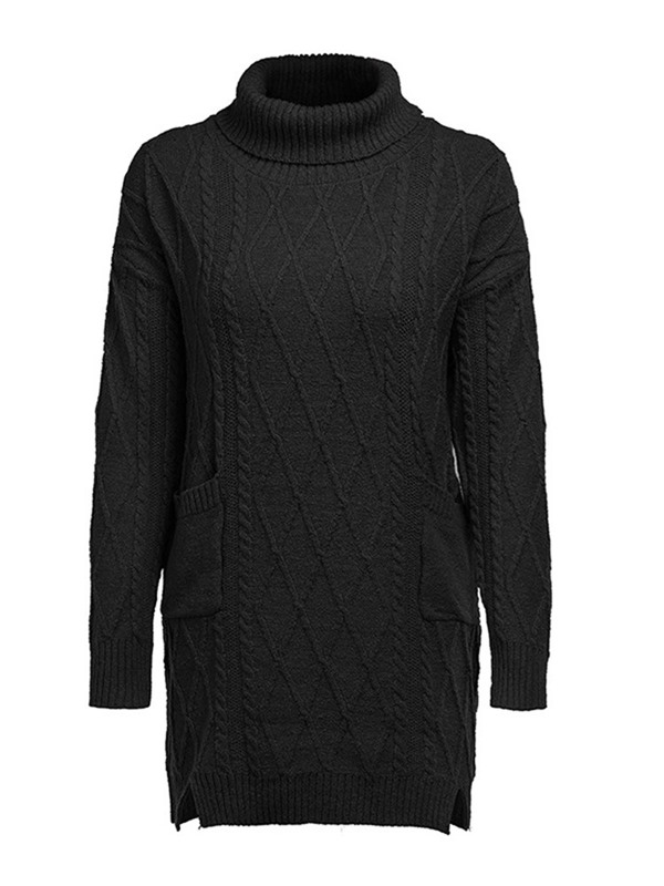 Above Knee Long Sleeve Turtleneck Pullover Women's Casual Dress