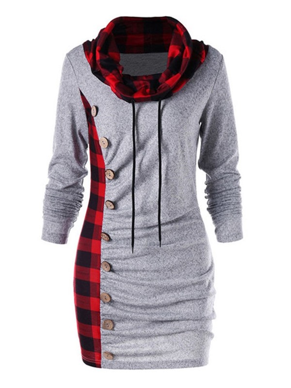 Long Sleeve Button Above Knee Casual Plaid Women's Causal Dress