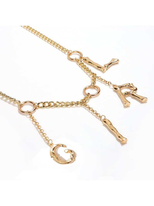 Sexy Letter Pendant Metal Waist Chain