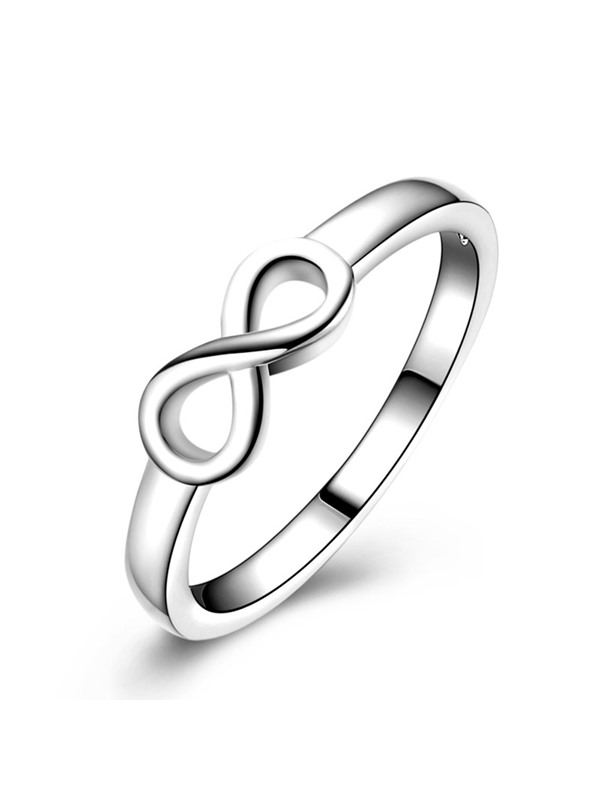 Eight Shape E-Plating Silver Plated Alloy Ring