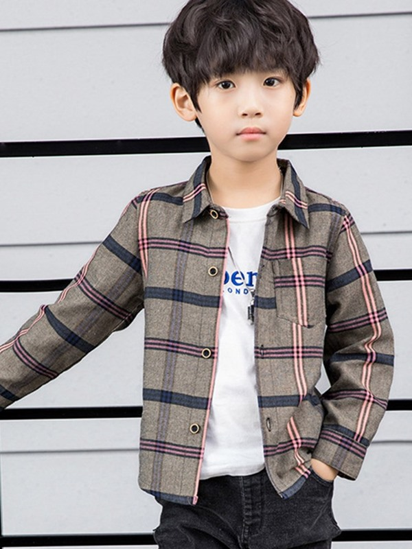 Plaid Lapel Long Sleeve Bottons Boys' Shirt