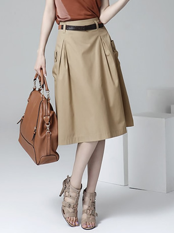 Plain A-Line Pleated Mid-Waist Women's Skirt
