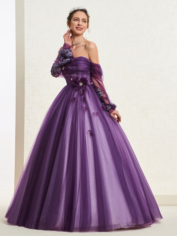 Strapless Floor-Length Ball Gown Long Sleeves Quinceanera Dress 2019
