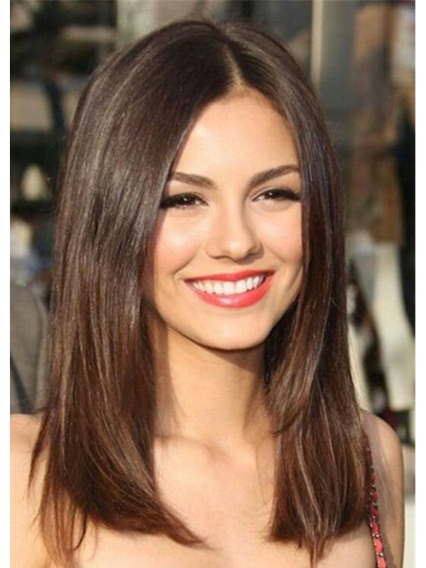 Sexy Lob Natural Straight Shoulder Length Synthetic Hair Capless Wigs 16 Inches