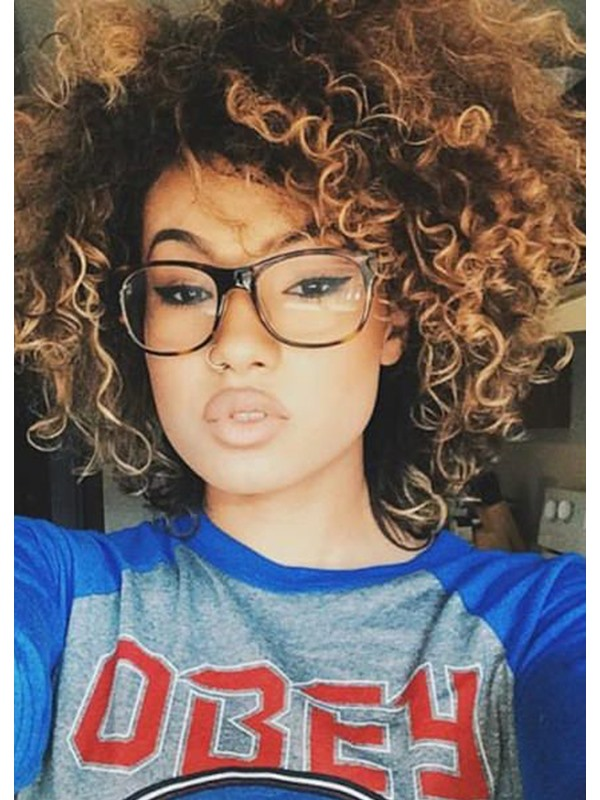 Cheap and Short Layered Curly Synthetic Hair Lace Front Wigs 14 Inches