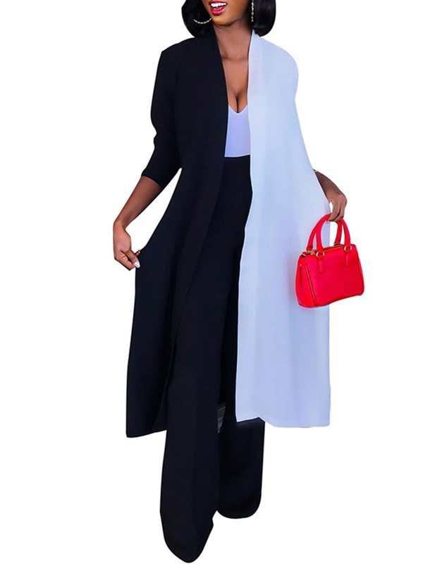 Color Block Long Loose Contrast Trim Thin Women's Trench Coat