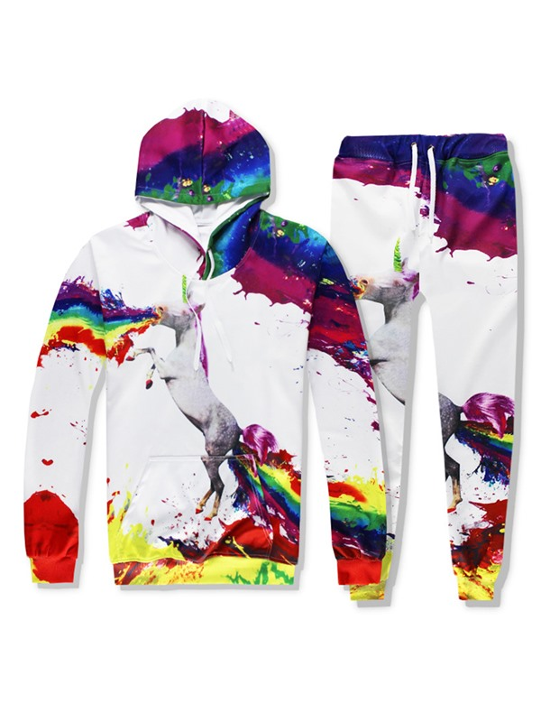 Color Block Print Animal Hoodie Pants Men's Outfit