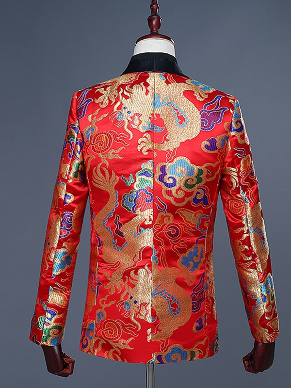 Floral Slim One Button Men's Fashion Blazer